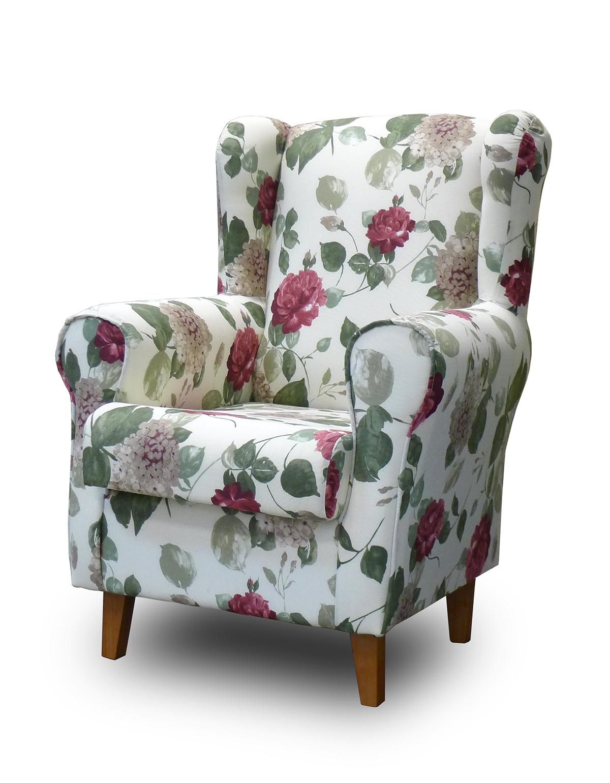 Sill n orejero con estampado floral estilo vintage limage - Telas para tapizar un sillon ...